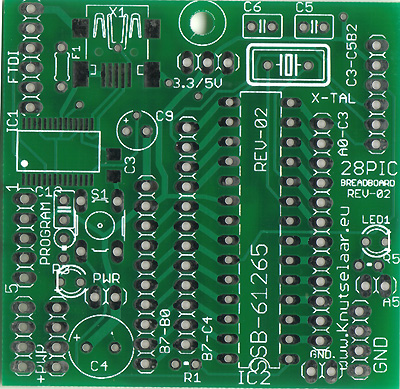 Layout ontwikkel bord voor 28PIC Breadboard