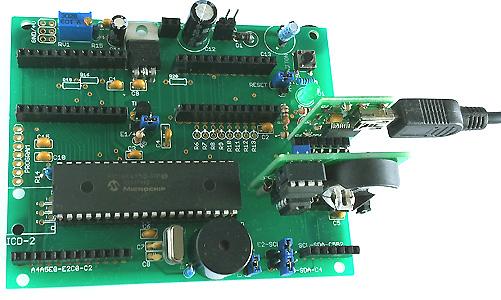 40PIC basis print met USB en RTC opsteek printjes