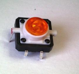 Schakelaar 12 x 12mm met Oranje LED