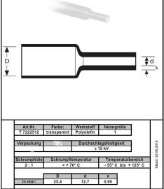 30cm Krimpkous 25mm transparant