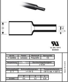 100cm Krimpkous 6.5mm Zwart